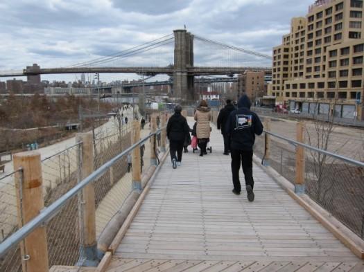 View of the Brooklyn Bridge, on the Squibb Park Bridge