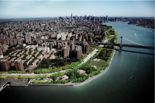 Aerial View of Proposed East River Blueway, & the existing East River Park