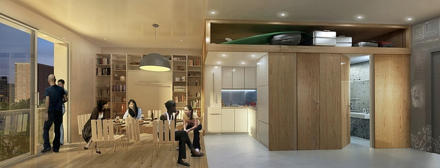 NYC Micro Apartment Living Space Rendering