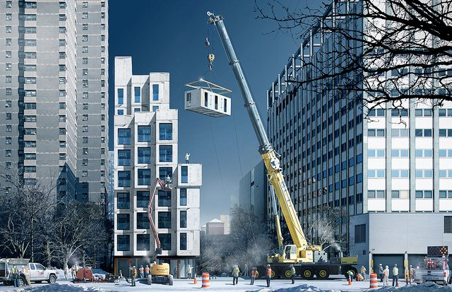 Manhattan Micro Apartments Prefabricated Construction Rendering