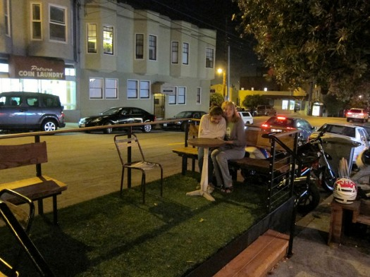 Example of a Parklet in San Francisco, Made from Rented Parking Spots